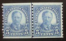 US Scott #602, 5cent Roosevelt coil line pair. MNH! Nice!