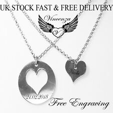 Heart  Personalised 2 Necklace Disc Pendant Name Mother's day Gift Birthday UK
