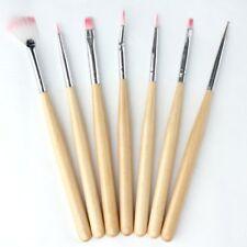 BF 7 PCS Wooden Nail Gel Polish Art Design Pens Brush Painting Drawing Tools Set