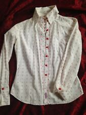 Ben Sherman White and Red Embroidered Christmas Blouse / Shirt Size US 6 / Small