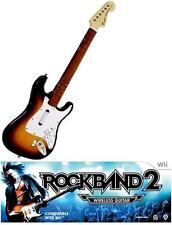 NEW Nintendo Wii Rock Band 2 Wireless Fender Stratocaster Sunburst Guitar RARE
