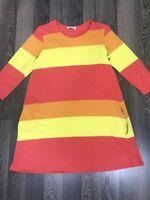 Marimekko Striped Crew Neck Dress Tunica Size S With 2 Pockets Multi-Color