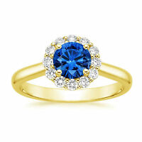 1.78 Ct Natural Diamond Real Blue Sapphire Ring Solid 14K Yellow Gold Size 6.5 7