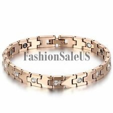 Women's Rosegold Tungsten Carbide Magnet Rhinstone Inlay Health Bracelet Chain