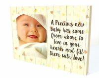 Personalised Photo Wooden Newborn Baby Boy Girl Plaque Gift Present Birth WP19