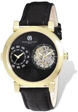Mens Charles Hubert IP-plated Leather 46mm Dual Time Watch