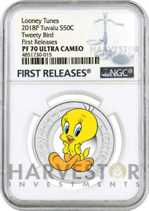 2018 LOONEY TUNES 1/2 OZ. SERIES - TWEETY BIRD - NGC PF70 FIRST RELEASES W/OGP