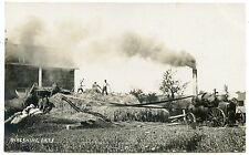 RPPC NY Farm Machinery Threshing Oats (Rare Henry Beach Photo)