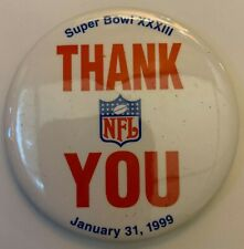 Vintage 1998 Super Bowl XXXIII NFL Thank You Pin Broncos & Falcons