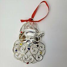 Lenox Silver Plate Santa Claus Multi Colored Crystals Christmas Ornament Ribbon