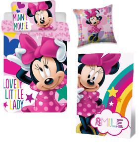 Bettwäsche 100 x 135 Minnie Maus Mouse Fleecedecke Kissen Set DISNEY Decke