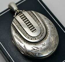 HUGE 1882 Antique ST SILVER Aesthetic BIRDS Swallows Butterfly Engraved LOCKET