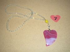 Beautiful Natural Pink Onyx Agate Crystal Healing Heart Pendant Necklace #7 NEW