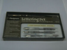 Plarignum Vintage Lettering Set---1 pen and 6 nibs--used--Brown Pen
