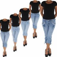 Damen Capri 3/4 Jeans Shorts Bemuda Kurze Hüft Stretch Hose Sommerhose Blau