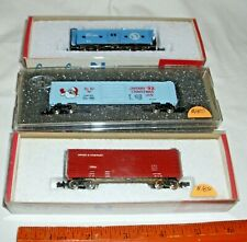 COR-COR CATTLE CAR, CHRISMAS FREIGHT CAR AND CABOOSE LOT BOXED NEW N SCALE