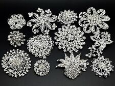 12pc/lot Mixed 7L+5M Sliver Rhinestone Crystal Brooches Pins DIY Wedding Bouquet