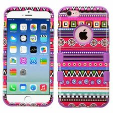 For Apple iPhone 6/6s Hot Pink Purple Tribal Fashion Tuff Hard Hybrid Case Cover