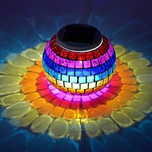 Solar Powered Table Lamp,Color Changing,Glass Ball LED Lights,Waterproof