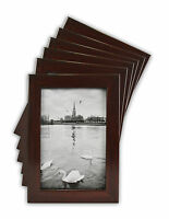 Pack of 6, 4x6 Walnut Color Wood Swan Photo Frame with REAL GLASS