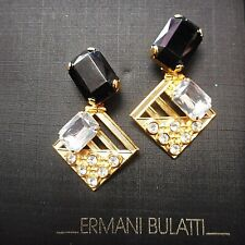 """Vintage Unsigned """"Ermani Bulatti"""" Goldplate CLIP Earrings with Crystal & Plexi"""