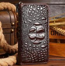 Uomini COCCODRILLO Genuine Leather Wallet Clutch Zipper Wallet Card Portamonete Borsetta
