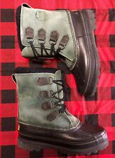 Sorel Caribou Green Winter Snow Boots Womens US Sz 8 Waterproof Insulated EUC