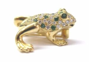 Fine 18Kt Green Emerald & Diamond Yellow Gold Frog Pin/Brooch