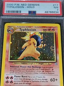 2000 Pokemon Neo Genesis Typhlosion Holo 17/111 PSA 7 ** Swirl**