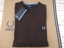 FRED PERRY Sweater K7211 Wool Tipped Crew Neck Size S Liquorice Jumper BNWT R£90