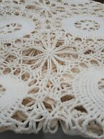Antique Crocheted Coverlet 60 x 60 farmhouse country throw cover tablecloth