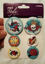 Rock & Roll Buttons 6 Pack  Pinback Music style