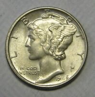 1945 Mercury Head Silver Dime Grading in the AU Range Nice Coins Last Year Issue