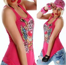 Redial Tank Top Ribbed Rhinestone Tattoo Print Knitted NeckTop LongTop Shirt
