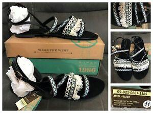 New Roper ladies Ariel black boho style strappy sandals, sz 11