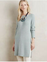 Anthropologie Moth Womens Pullover Sweater Tunic Dress Long Side Slits Sz S Sage