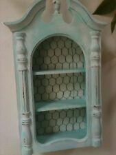 ShAbby AQUA Vintage Clock Case~Chic Ornate Curio Cabinet/Shelf~Chicken Wire Back