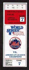 1986 WORLD SERIES TICKET STUB GAME 7 BOSTON RED SOX VS NEW YORK METS