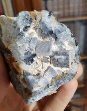 Fluorine bleue recouverte de quartz, Mine de Marsanges, Langeac, Haute-Loire (43