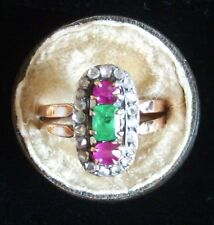 Emerald rubies diamonds RING Size R very pretty stamped gold Indian? love gift