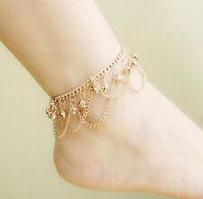 Women Anklet Gold Bead Bells Chain Ankle Bracelet Barefoot Sandal Foot Jewelry