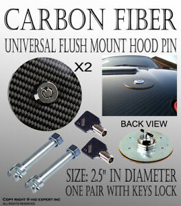 ICBEAMER Racing Round Carbon Fiber Mount Round Hood Latch Pin Key Locking U30