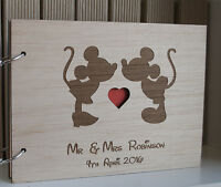 wood guest book A4 Mickey Minnie, disney wedding, guest book, personalized album
