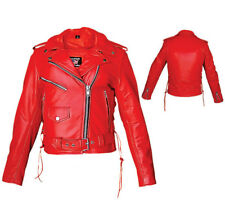 Women's Red Leather Motorcycle Jacket Premium Cowhide Allstate Leather AL2122 HB