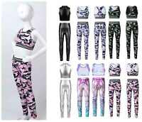 Toddlers Girls Dance Outfit Gymnastics Yoga Stretchy Tanks Crop Top Leggings Set