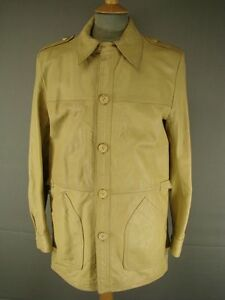FANTASTIC VINTAGE 1970's CLASSIC BEIGE LEATHER JACKET 40 INCH