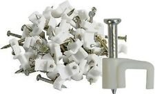 100 X 4MM FLAT SPEAKER LOUDSPEAKER TELEPHONE BELL WIRE CABLE CLIPS WHITE