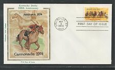 """# 1528 HORSE RACING, KENTUCKY DERBY 1974 Colorano """"Silk"""" First Day Cover"""