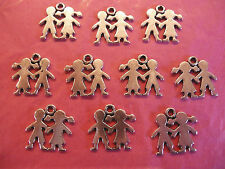 Tibetan Silver Love Is Boy & Girl/Be My Valentine Charm 10 per pack
