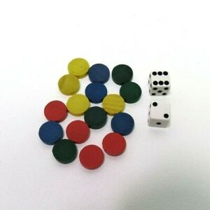 1989 Parcheesi Game Replacement Pieces Parts-  16 Wooden Pawns & 2 Dice